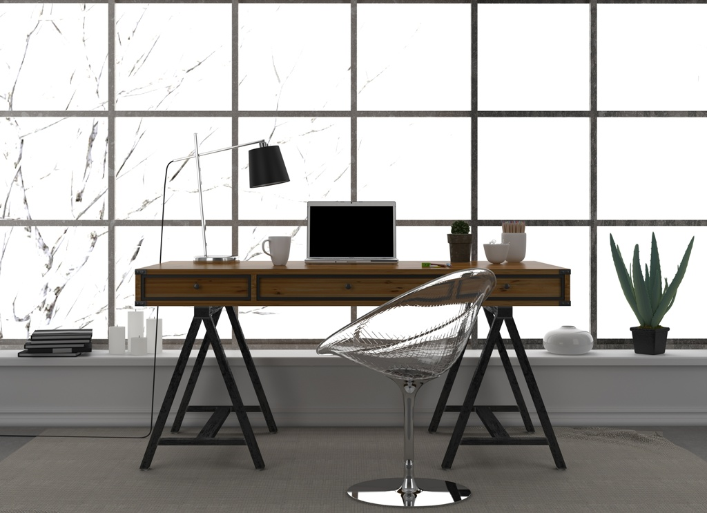 Modern interior of home office with a transparent chair and a large window